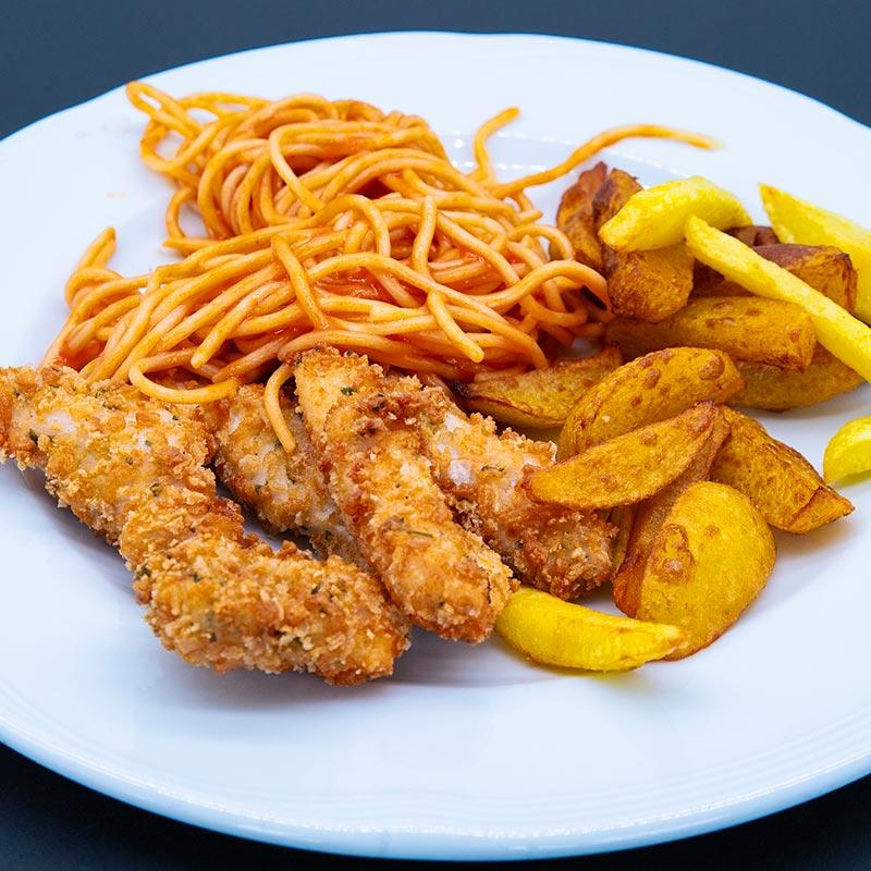 Espaguetis, nugets y patatas fritas